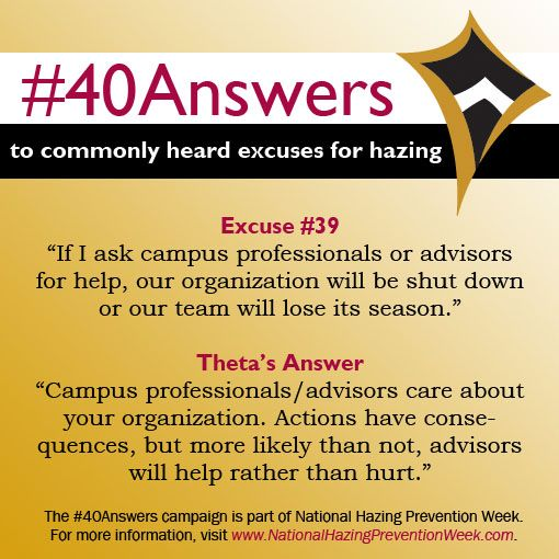 #40Answers Campaign, Day 39: Campus professionals/advisors care about your organization. Actions have consequences, but more likely than not, advisors will help rather than hurt. #NHPW