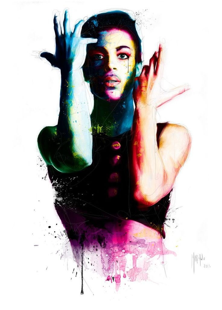 This is an amazing painting by Patrice Murciano. I  love the image that he has painted of prince, i think that the colours that he has used really captures princes personality, prince has a very wild character, he's a very colourful person and rather quirky. I like that this painting looks as if it could be used as princes cd cover image.