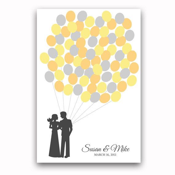 Balloon Guest Book Poster Wedding Guestbook Alternative for 75 Guests Yellow and Gray Wedding Guestbook Poster via Etsy