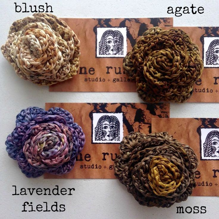 Image of eco dyed silk rose brooches 1-4 - made by rita summers