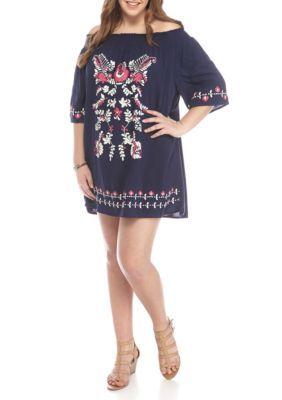 Living Doll Girls' Plus Size Off The Shoulder Dress - Navy/Fuschia - 3X