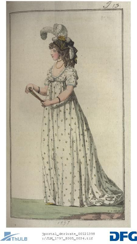 Young lady in a pleated chemise with attached sleeves