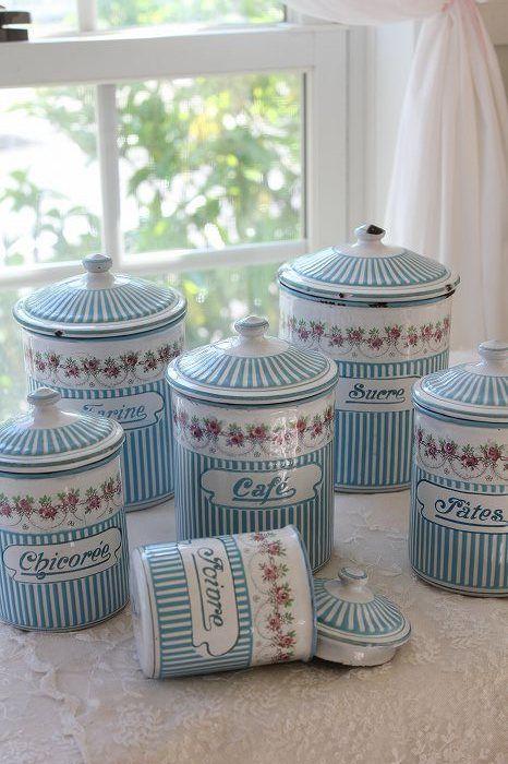 「フランスアンティーク BB ローズガーランドキャニスターセット」ココン・フワット Coconfouato [アンティーク&雑貨] フレンチアンティーク キャニスターセット ホーロー 陶器 テーブルウェア --kitchen--