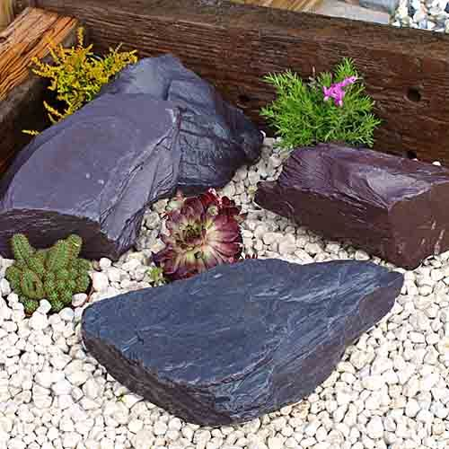 The 18 best images about rockeries and water features on for Blue slate garden designs