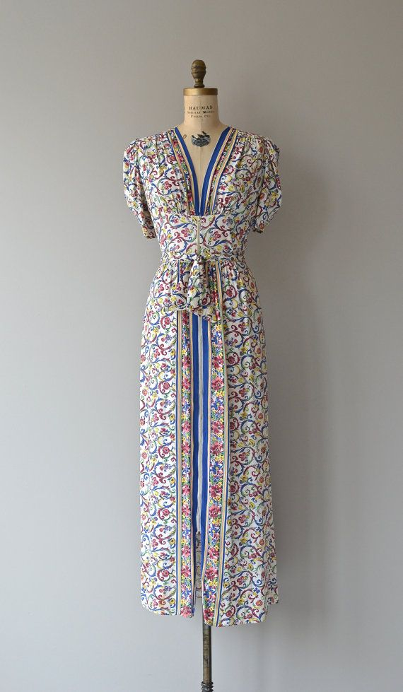 Bookplate dress vintage 1930s dress rayon 30s maxi by DearGolden