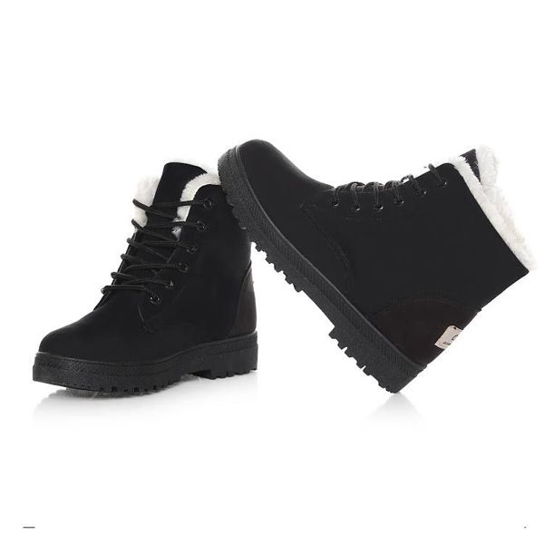 New Women Winter Keep Warm Flat Lace Up Non-Slipper Plush Martin Boots Snow Boots Ankle Short Boots