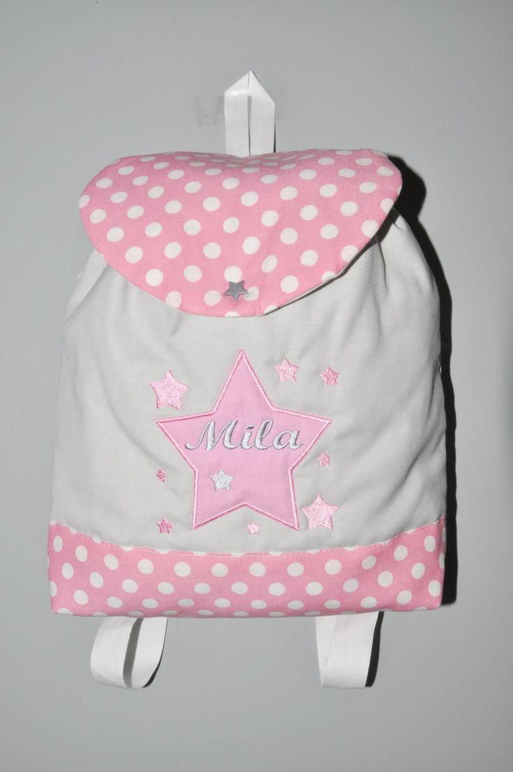 Sac a dos enfant étoiles rose/gris personnalisé brodé au prenom : Sacs enfants par lbm-creation