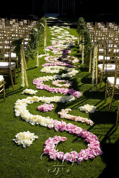 Wedding aisle with flower petals