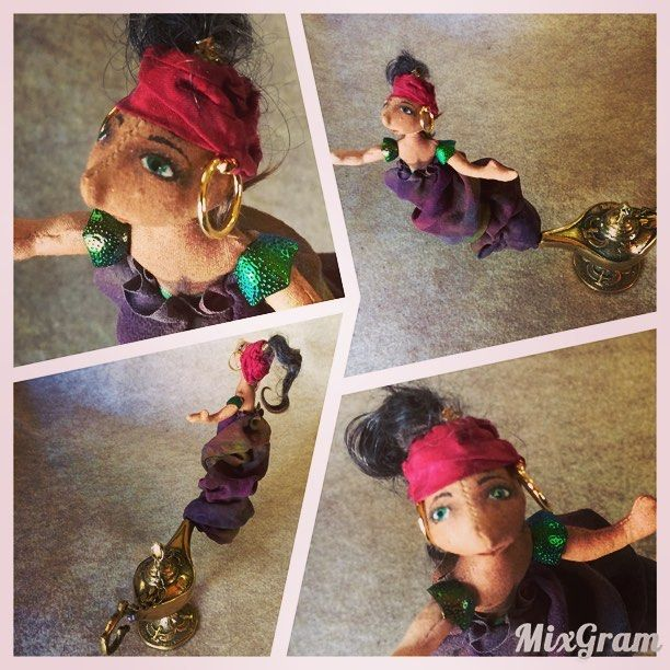 Aladdin's djinn, he's on a wire so if tapped he bounces. This is my first slightly kinetic piece. #artdoll #mixedmedia #djinn #genie #genielamp #stories #aladdin