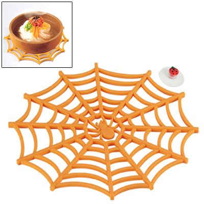 [$4.35] Versatile Spider Web Design Silicone Anti-Slip Hot Trivet Pad Soft Gel Pot Cup Coaster Mat (Orange)