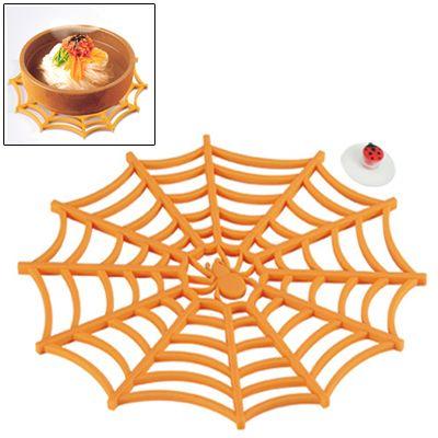 [$4.35] Versatile Spider Web Design Silicone Anti-Slip Hot Trivet Pad Soft Gel Pot Cup Coaster Mat (Orange)