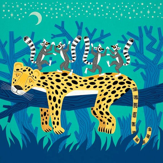 A limited edition illustration titled - The Leopard and The Lemurs printed on the finest archival matte canvas paper. This is a 220gsm Heavyweight canvas textured effect paper. The surface has a canvas texture and the colors of the print, are extremely strong and vibrant. The print