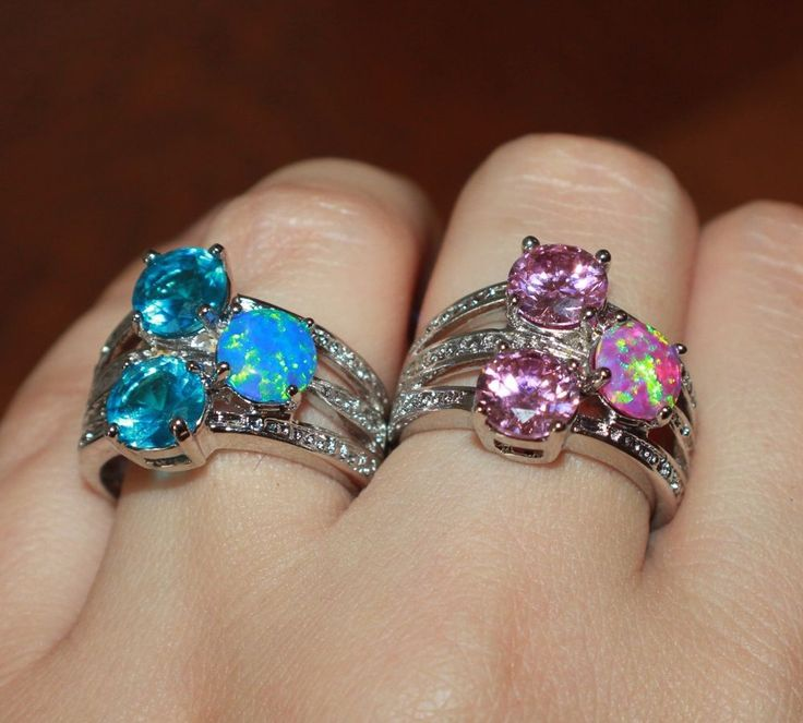 fire opal topaz ring gems silver jewelry Sz 6.5 7.5 cocktail engagement wedding