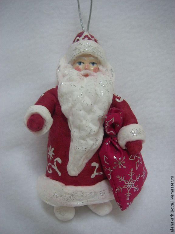 Новый год 2015 ручной работы. Ярмарка Мастеров - ручная работа Дед Мороз и Снегурочка. Handmade. Ватные ёлочные игрушки сделаны по старинной технологии. Цвет шубы Деда Мороза может быть белым, красным, синим. Есть петелька для подвешивания на ёлку.