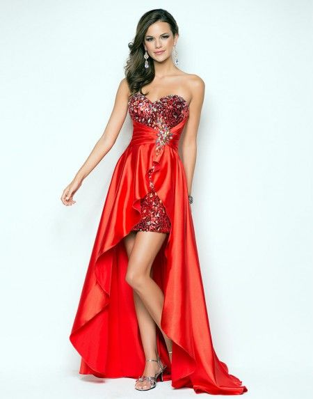 Sweet Sweetheart High Low Red Cocktail/Homecoming Dress Cbp0007 - Wishesbridal.com