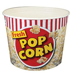85 oz Popcorn Tubs 300   Fun movie theater designed popcorn bucket.  Very attractive designed popcorn tubs that will grab the attention of customers everywhere you are.....festivals, fairs, movie theaters, and even wonderful for home theaters.  Eye catching graphics featuring popping popcorn.  Packed 300 Tubs per case