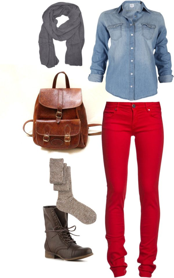 """Saturday Around Town"" by jupedujour on Polyvore    denim shirt, red skinny jeans, gray scarf, leather backpack, wool socks, gray leather lace up combat boots"