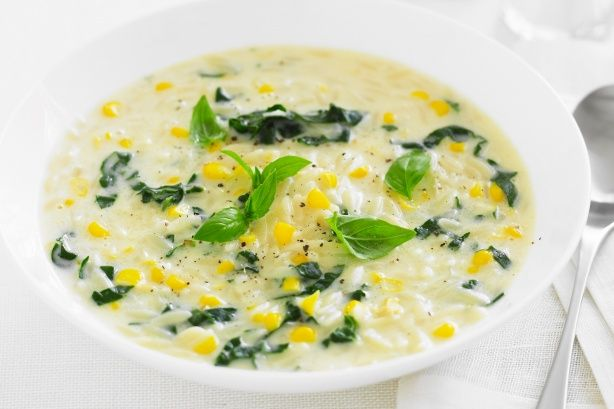 Chicken, corn and risoni soup