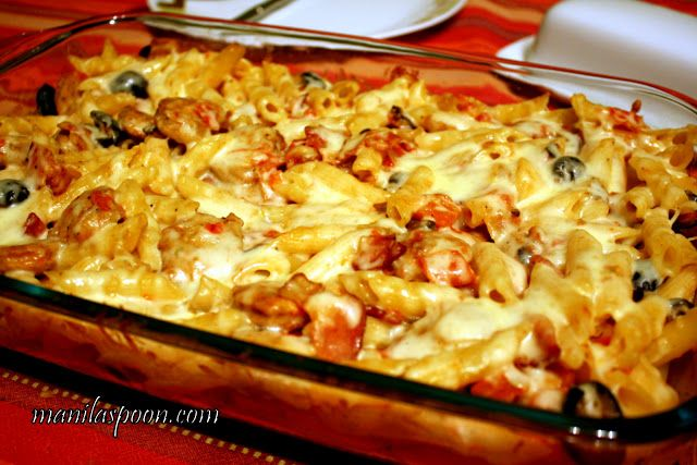 Sausage and Pasta Bake with Bacon and Olives