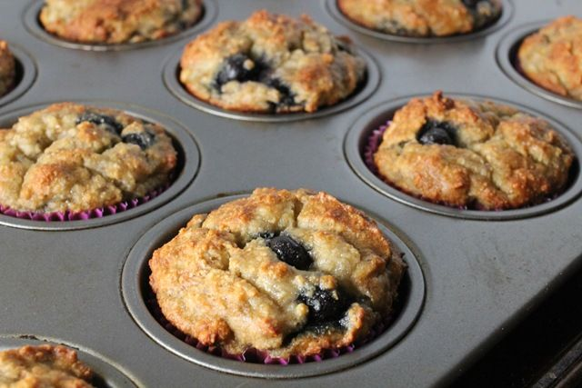 Banana Blueberry Muffins with Almond Flour [Healthy, Breakfast, Vegetarian, Gluten-free, Wheat-free, Grain-free, Dairy-free] *