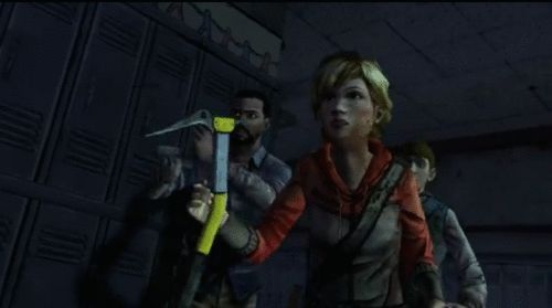 "The walking dead video game gif. Ben's like ""does she have the booty? SHEEEE DOOOO!"""