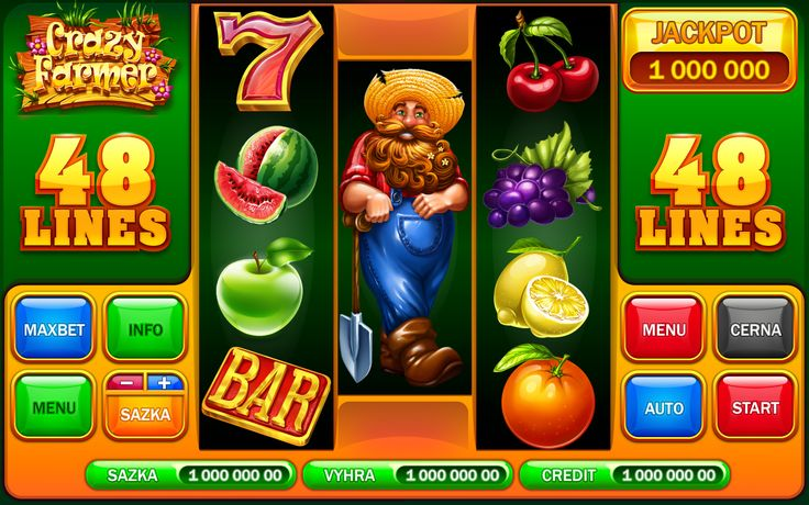 """Graphic design of symbols, buttons, character and interface for the game slot-machine """"Crazy farmer"""" http://artforgame.com/"""