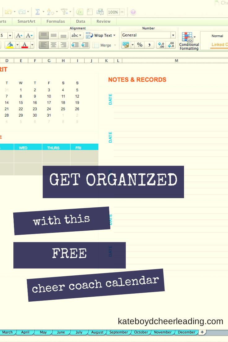 Get control of your cheer year with this FREE #cheerleading coach calendar template - kateboydcheerleading.com