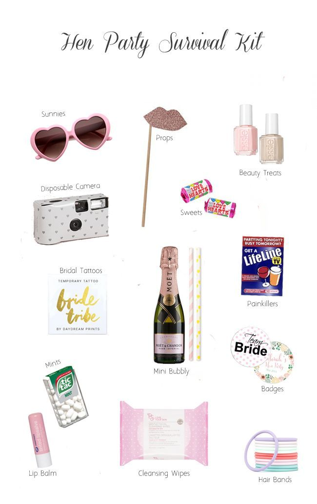 Some great ideas for your hen party survival kits!