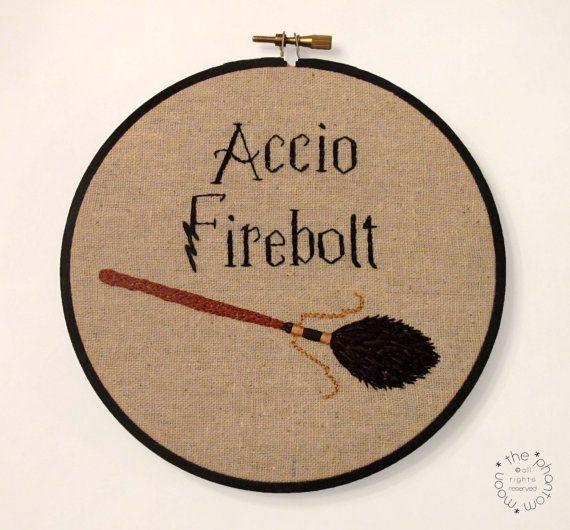 Accio Firebolt - Harry Potter Inspired Embroidery Hoop Art