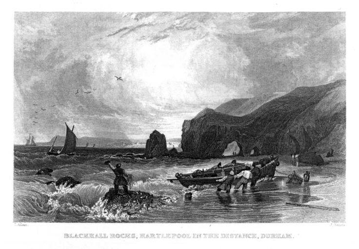 An old print of Blackhall Rocks
