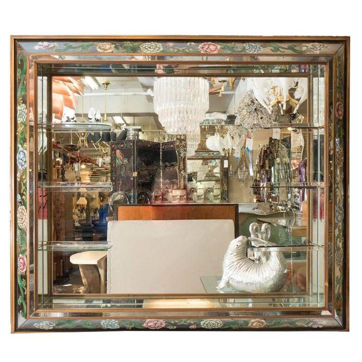Hollywood Regency Shadow Box Wall Mirror with Glass Display Shelves | 1stdibs.com