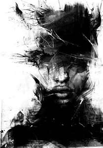 abstract black and white dark females illustrations painting tags ...