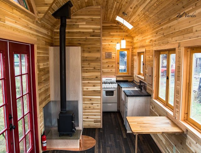 the interior of the little bird tiny house