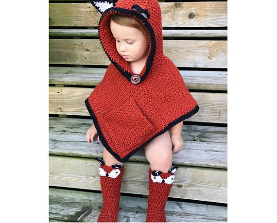 Crochet Pattern for Woodland Fox Poncho and Crochet Socks – Fox Crochet Pattern – Hooded Fox Poncho and Socks PATTERN by MJ's Off The Hook
