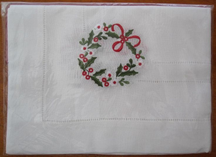 Christmas Embroidered Tablecloth NEW Vintage Replica in Antiques, Textiles, Linens, Lace, Crochet, Doilies | eBay SELLER ID: kathy_a1