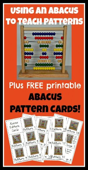 Using an abacus to teach patterns:  Lots of great ideas and a set of free printables too!