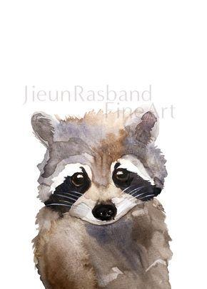 Bebé mapache grabado Original acuarela por JieunRasbandFineArt