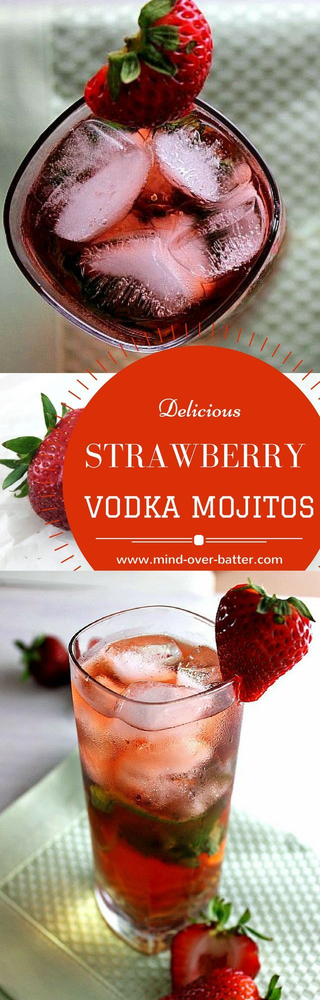 Strawberry Mint Mojitos with a homemade vodka! http://www.mind-over-batter.com