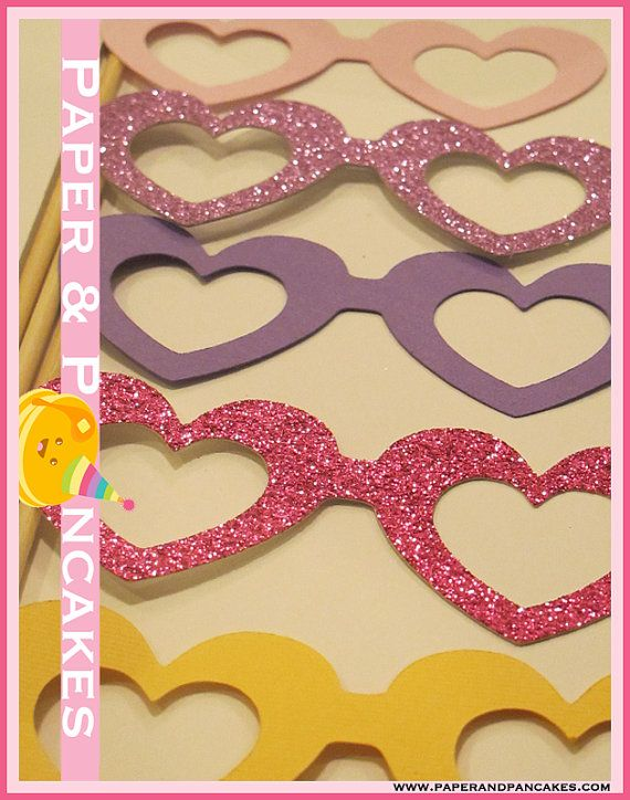5 Piece Heart Glasses Photo Booth Props by PAPERandPANCAKES, $5.00