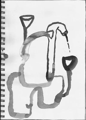 """Emma Minkley - """"Plumbing Device"""" (2015). Ink on Fabriano paper."""