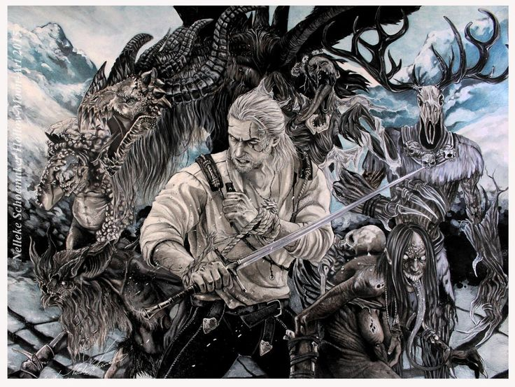 Witcher Wild Hunt - Slayer of monsters by Hollow-Moon-Art #Geraldfromrivia
