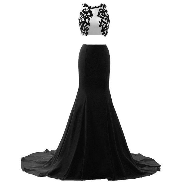 JAEDEN Appliqued Two Piece Evening Dresses Long Sexy Mermaid Prom... (£89) ❤ liked on Polyvore featuring dresses, gowns, long dresses, robe, prom gowns, long white dress, long gown, white gown and white prom dresses