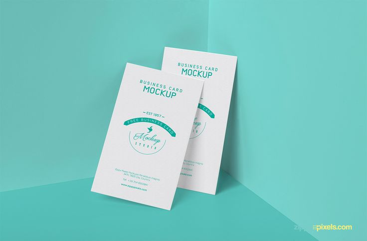 """Free visiting card psd mockup for showcasing your business/corporate card designs. Featuring 3.5"""" x 2"""" layout  with customizable card design (front), changeable wall/floor color and adjustable shadows."""