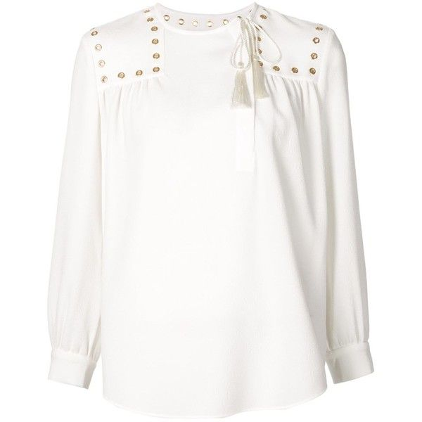Derek Lam 10 Crosby eyelet detail peasant blouse ($740) ❤ liked on Polyvore featuring tops, blouses, white, white blouse, eyelet top, grommet top, white peasant blouse and peasant blouse