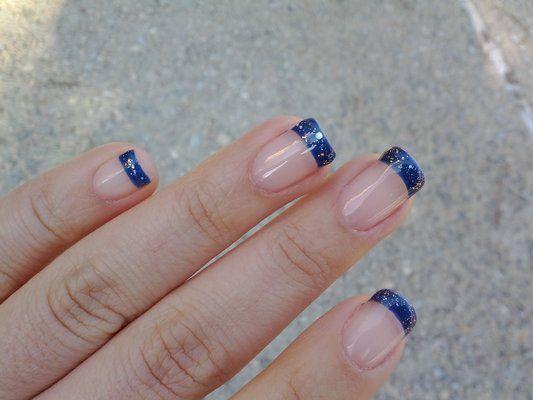 blue glitter tip acrylic nailsblue