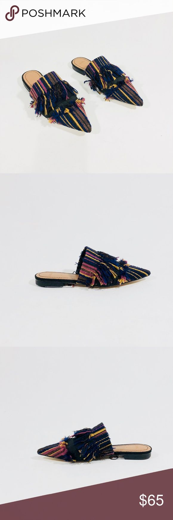 ZARA MULTI-COLOR FLAT STRIPED MULES WITH FRINGE Zara Flat Multi-color Mules  Size: 36/6  Condition: New with tags  Details:  Pointed toe mules  Striped upper with fringe detail  Upper: 100% polyester  Soles: 100% thermoplastic rubber Zara Shoes Mules & Clogs