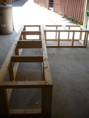 Benches with storage... Looks pretty easy, maybe I should build my own mud room benches (Diy Garden Storage)