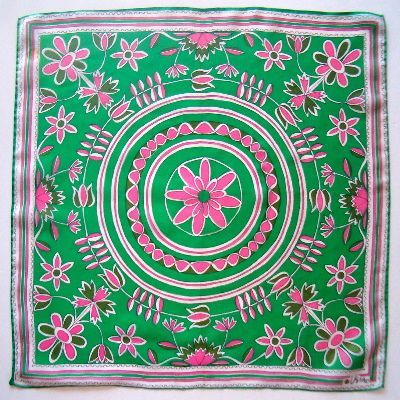 VINTAGE PINK AND GREEN VERA SCARF...