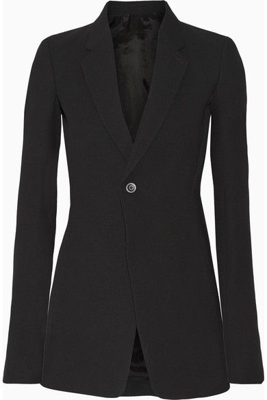 Black wool-blend crepe Button fastening at front 53% wool, 47% viscose: lining1: 100% cupro; lining2: 77% cotton, 23% silk Dry clean Made in Italy