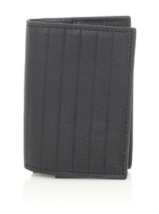 Joseph Abboud Men's Pinstripe Embossed Flip Passcase Wallet (Black)